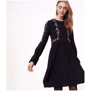 Loft Floral Embroidered Split Sleeve Dress